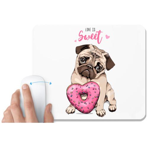 Pug & Doughnut | Pug with Pink Heart Doughnut